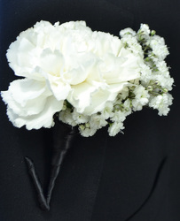 Carnation Boutonniere With Baby's Breath from Dallas Sympathy Florist in Dallas, TX