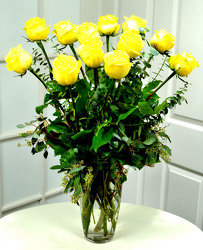 12 Lush Yellow Roses   from Dallas Sympathy Florist in Dallas, TX