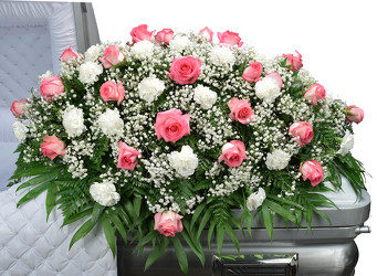 Roses & Carnation Mix Casket Spray from Dallas Sympathy Florist in Dallas, TX