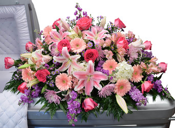 Roses, Lilies, Mums Casket Design from Dallas Sympathy Florist in Dallas, TX