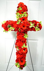 Red Sympathy Cross from Dallas Sympathy Florist in Dallas, TX