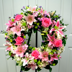 Pink Sincerity Wreath from Dallas Sympathy Florist in Dallas, TX
