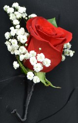 Rose Boutonniere with Baby's Breath from Dallas Sympathy Florist in Dallas, TX