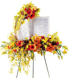 Solemn Word Standing Bible Spray from Dallas Sympathy Florist in Dallas, TX