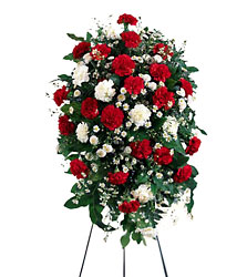 Crimson & White Standing Spray from Dallas Sympathy Florist in Dallas, TX