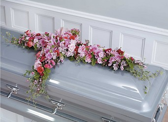 Pink and Magenta Cross Casket Spray from Dallas Sympathy Florist in Dallas, TX