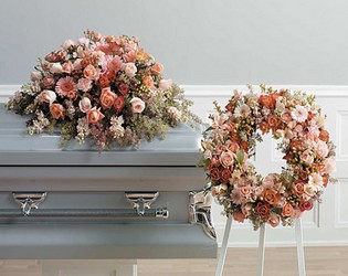 Peach Shades Casket Design from Dallas Sympathy Florist in Dallas, TX