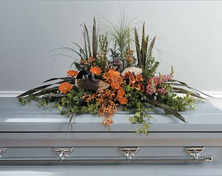 Duck Decoy Casket Arrangement from Dallas Sympathy Florist in Dallas, TX