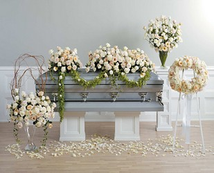 Ivory and White Rose Wreath from Dallas Sympathy Florist in Dallas, TX