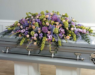 Lavender and Green Casket Design from Dallas Sympathy Florist in Dallas, TX