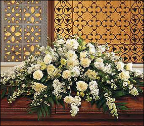 Pure White Casket Spray from Dallas Sympathy Florist in Dallas, TX